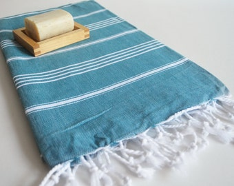 SALE 50 OFF / Turkish Beach Bath Towel / Classic Peshtemal / Teal Green / Wedding Gift, Spa, Swim, Pool Towels and Pareo
