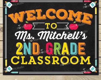 Classroom Welcome Sign - Classroom Sign - Classroom Decor - Classroom Printables - Personalized Teacher Sign - Teacher Door Sign - School