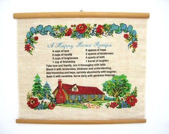 Vintage Wall Hanging Kitchen Picture Recipe for a Happy Home Linen Wedding Gift Housewarming 1960 Graphics Faith Hope Love Understanding
