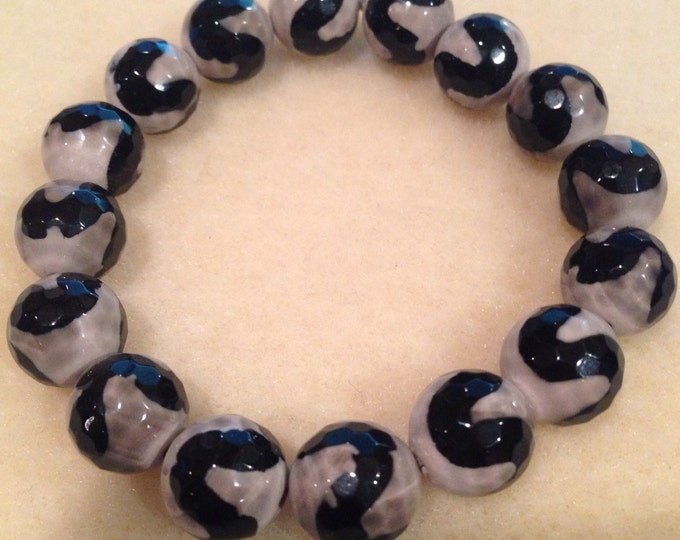 Tibetan Black Agate 12mm Bead Bracelet with Sterling Silver Accent