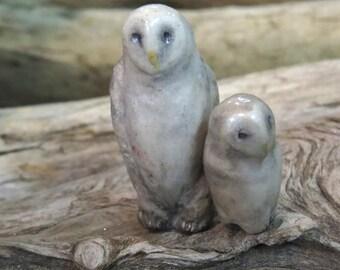 owl and owlet - pair of miniature original sculptures