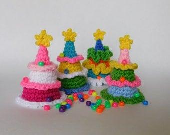 PDF Instant Download Easy Crochet Pattern No 124  Christmas Fairytale Forest Four Crochet Trees  ornaments home decor applique