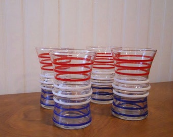 Vintage Anchor Hocking Red White Blue Tumblers Juice Drinking Glasses Set of 4