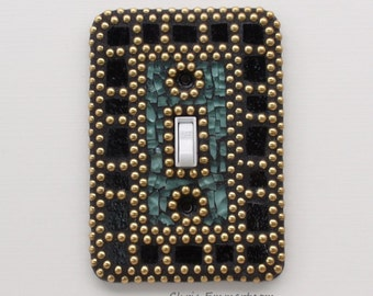Gold, Black and Green Mosaic Switch Plate Cover