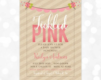 Tickled Pink Baby Shower Invitation - Girl Baby Shower Invite Floral Baby Shower Kraft Paper Pink Yellow Green (Item #161)