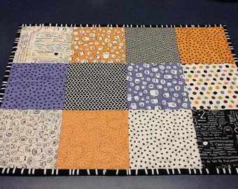 Halloween Quilted Table Topper,  Boo Crew Table Runner, Orange Gray and Purpel Table Mat,  Quiltsy Handmade