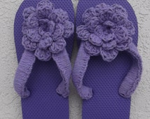 Honeymoon Flip Flops Flip Flops Purple Flips Flops Women's Purple Flip Flops Size Small (5-6) with Attached Purple Crocheted Flower