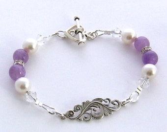 Genuine Amethyst Bracelet, Purple Amethyst Sterling Silver and White Pearl Bracelet, Purple Bridesmaid Jewelry, Purple Wedding Jewelry