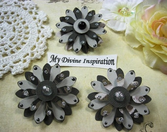 Black and Gray Handmade Paper Embellishments, Paper Flowers for Scrapbook Layouts Cards Mini Albums Tags and  Paper Crafting