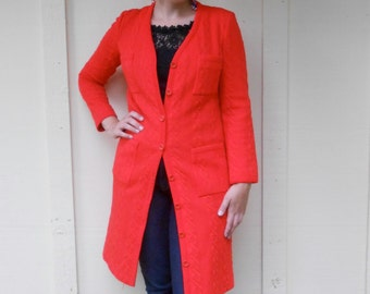 Vintage 1960s BUTTE-KNIT bright red cable knit polyester maxi overcoat / button-down dress