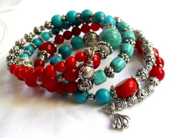 bohemian turquoise and red coral memory wire bracelet gypsy cuff bracelet boho bracelet gypsy style