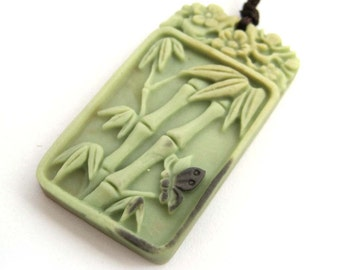 Carved Bamboo Flower Butterfly Two Layer Natural Stone Fortune Pendant 41mm*23mm  ZP077
