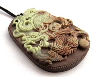 Chinese Dragon Amulet Pendant Two Layer Natural Stone One Piece 50mm*39mm  ZP080