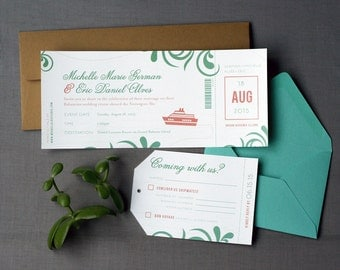 Destination Wedding Cruise Boarding Pass Wedding Invitation