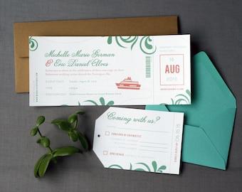 Destination Wedding Cruise Boarding Pass Wedding Invitation