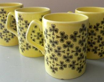 """ARKLOW Ireland """"Emerald Isle"""" Lot of 4 Mugs Yellow w/ Shamrocks St. Patricks Day"""