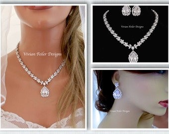 Bridal Jewelry Set NECKLACE and EARRINGS Wedding Jewelry Cubic Zirconia BLING Prom Jewelry