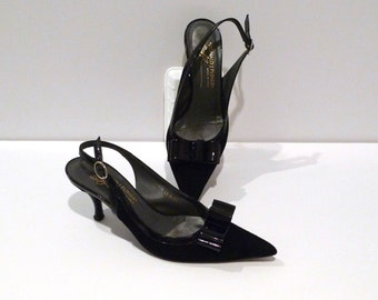 Donald Pliner Black Sling Back Pumps Vintage Black with Patent Bow Kitten Heel Shoes Size 6  Pointy Toe Italy Cocktail Party