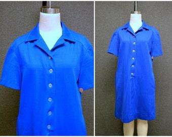 1970s Royal Blue Shirt Dress