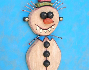 Twisted Snowman, Original Found Object Wall Sculpture, Wood Carving, Wall Decor, Figure Sculpture, by Fig Jam Studio
