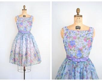vintage 1950s chiffon dress - full skirt / Garden Party - 50s / blue floral print - lilac satin