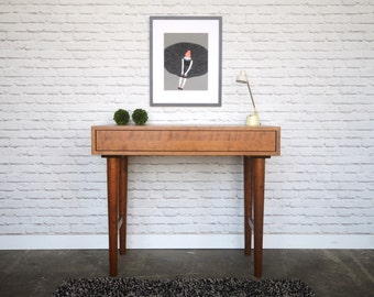 Console Desk - Danish Modern Inspired - Teak on Solid Cherry