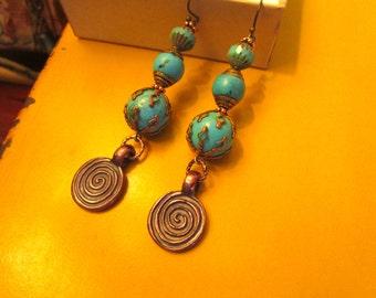 Terrific OOAK Genuine TURQUOISE, Czech Art Glass, Tibetan Turquoise, Brass & Copper Dangle/Drop Mykonos LABYRINTH Pierced Vintage Earrings