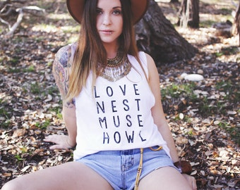 Love Nest Muse Howl Muscle Tank - Womens