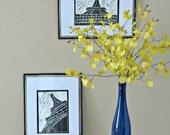 Black and White Eiffel Tower Linocut block print