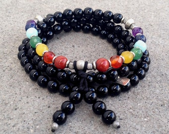 Chakra, onyx and chakra gemstones 108 bead wrap mala bracelet