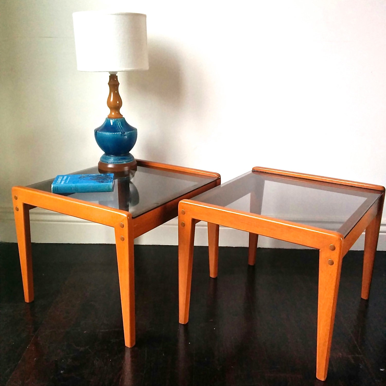 Pair of teak and smokey grey glass side tables 1960s for Retro side table