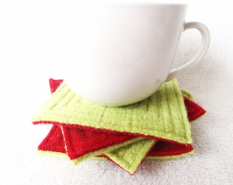 Wool Coasters LIME & RED Christmas Coasters Upcycled Mug Rugs Felted Wool Coasters by WormeWoole