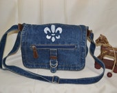 Purse Blue Jean boho fleur de lis hippie gift for her