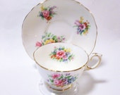 Vintage Crown Staffordshire Flowered Teacup and Saucer