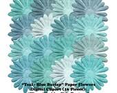 Burlap Linen Teal Blues Clip Art Digital Paper Flowers Clipart Worn Shabby Chic Texture DIY Scrapbooking Embellishments Instant Download