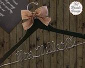 SALE Personalized Bridal Hanger / Bride / Wedding Hanger /Bridal Gift / burlap hanger/ burlap bow / wire hanger / wedding hanger