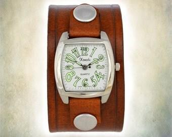 Women's  Leather Cuff Watch - Retro 70's