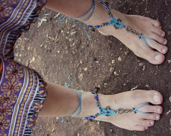 Gypsy macrame barefoot sandals SUMMER COLLECTION ocean blue happy feet jewelry bridal anklet bohemian shoes