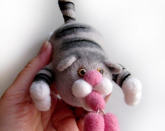 Cat with sausage - stick cup for your car window and not only - needlefelted sculpture