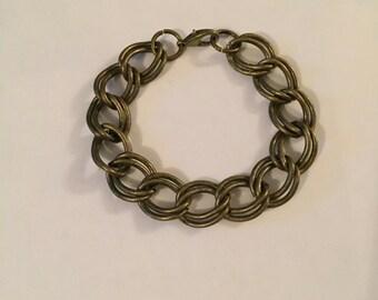 Bronze Double Link Thick Chain Bracelet
