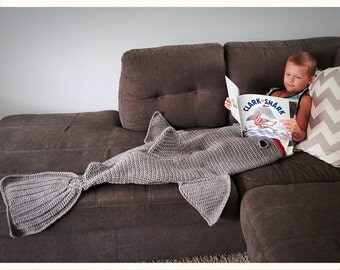 Shark Blanket Kids or Adult Crochet Afghan Blanket Sack