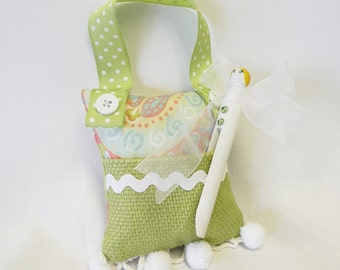 Tooth Fairy Pillow and Clothespin Doll Tooth Fairy or Gift for Girls Purse Toy in Apple Green and Pink