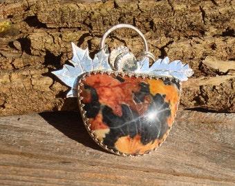 Sale Falling Leaves Morrisonite Jasper sterling silver pendant. Fall necklace, jasper necklace, gifts for her, Morrison Ranch jasper jewelry