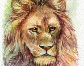 Lion - ORIGINAL watercolor painting 7.5x11 inches