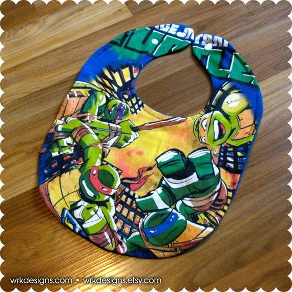 ninja turtles recycled t shirt baby bib baby boy baby shower gift