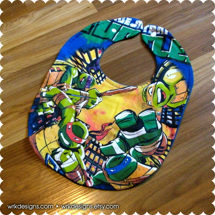 teenage mutant ninja turtles recycled t shirt baby bib baby