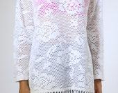 shirt, 90s vintage white perforated cut out cotton long sleeve shirt w/ tassel fringe, beach bohemian hippie, womens medium m