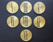SALE Vintage Bronze Roman Number Lot of 7 Brass Round Plate Supply Supplies
