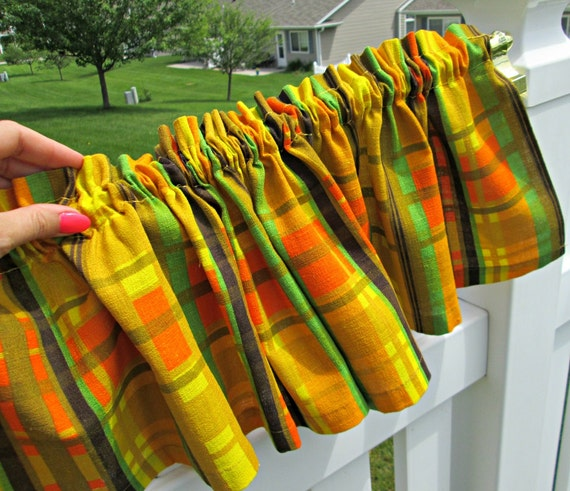 Vintage Valance Curtain Groovy Jc Penney S Plaid By Dollfood