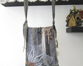 Boho Shabby chic Bag Hand Dyed, cross body Messenger Bag, Hand Woven Cotton Lace doily , brown Leather.  Gray Blue, shabby chic, OOAK School